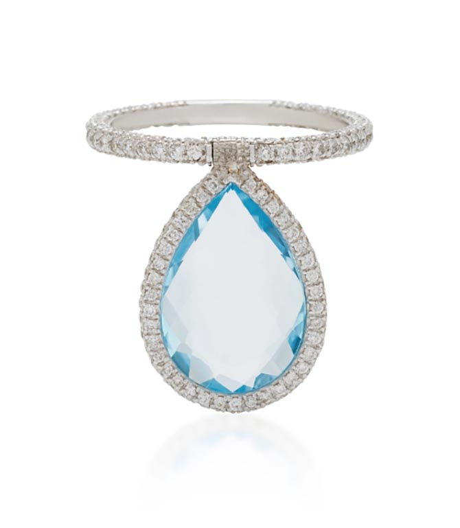 Nina Runsdorf Large Blue Topaz and 18K White Gold Flip Ring