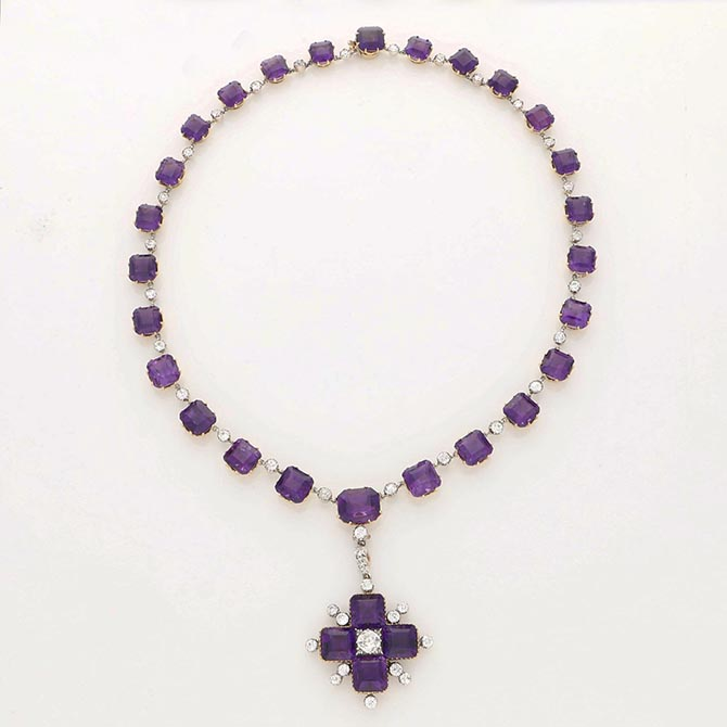 An amethyst, diamond and gold cross pendant necklace made in the Victorian era from Hancocks. Photo courtesy