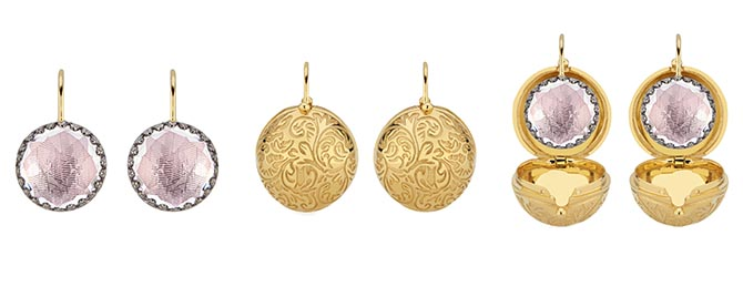 Larkspur & Hawk small Olivia Button Earrings shown with and without the 18K gold washed Carriage Covers decorated with a bas relief pattern. Photo courtesy