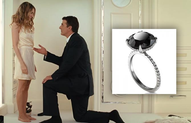 Chris Noth proposing to Sarah Jessica Parker and the black diamond engagement ring Photo courtesy