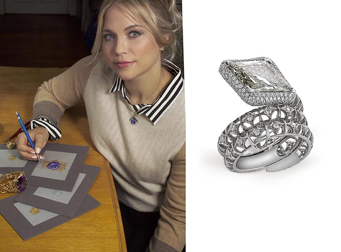 Amy Burton sketching and one of her jewelry designs, the Diamondback Snake Ring Photo courtesy