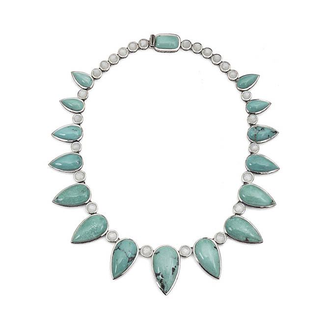 Stephen Dweck Natrual Turquoise and White Moonstone Fan Necklace
