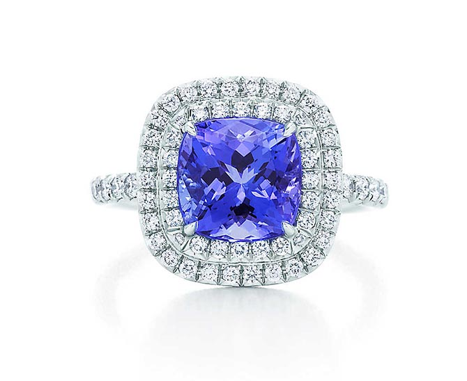 Tiffany Soleste Tanzanite, diamond and platinum ring. Photo Tiffany