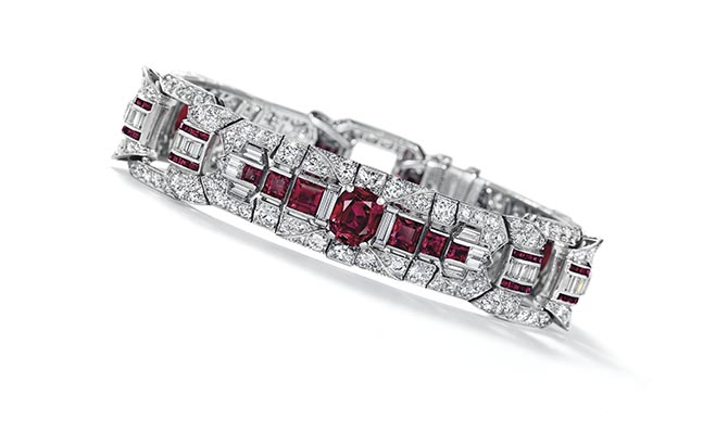 A ruby and diamond bracelet by Raymond Yard purchased by Rockefeller in 1952. Photo Christie's