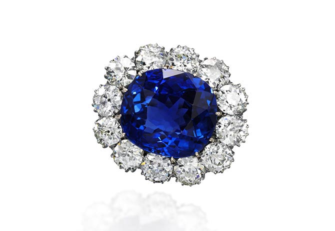 The Archduchess Maria Anna of Austria Ceylon sapphire and diamond brooch. Photo Sotheby's