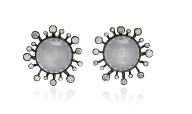 Vram Gray Moonstone and Diamond Earclips