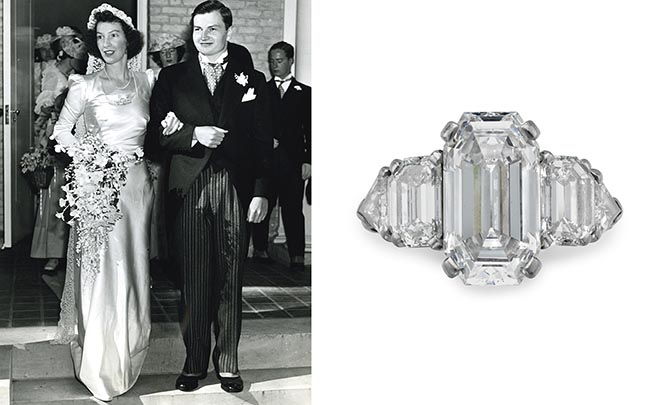 An emerald, diamond and platinum double Raymond Yard double-clip brooch purchased by David Rockefeller in 1949. A 5-carat sapphire, diamond and platinum Raymond Yard ring commissioned by David Rockefeller in 1952. Photo Christie's