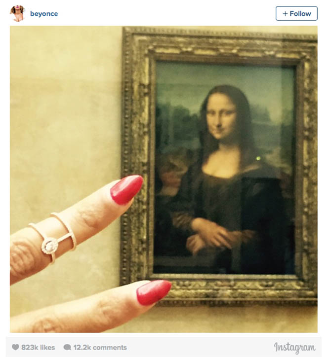 Beyonce Instagram post wearing Messika ring at the Mona Lisa in 2014 Photo @beyonce/Instagram