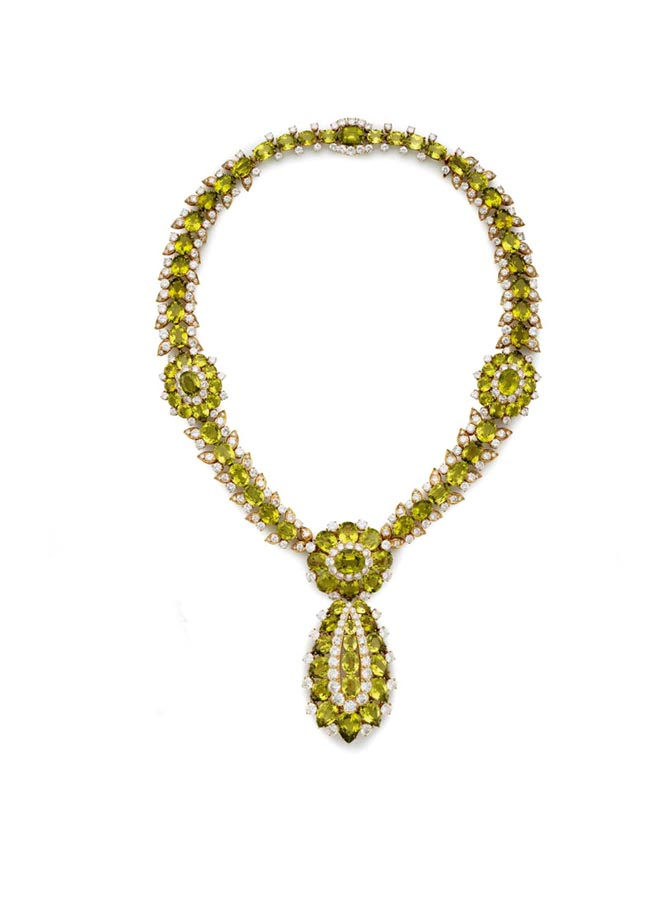 Peggy Rockefeller's peridot and diamond suite made by Van Cleef & Arpels in the mid 1960s. Photo Christie's