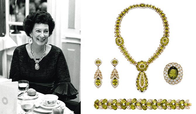 Peggy Rockefeller wearing her peridot and diamond jewelry by Van Cleef & Arpels in 1973. The complete set was made by Van Cleef & Arpels in New York during the mid-1960s Photo Rockefeller Archive Center and Christie's