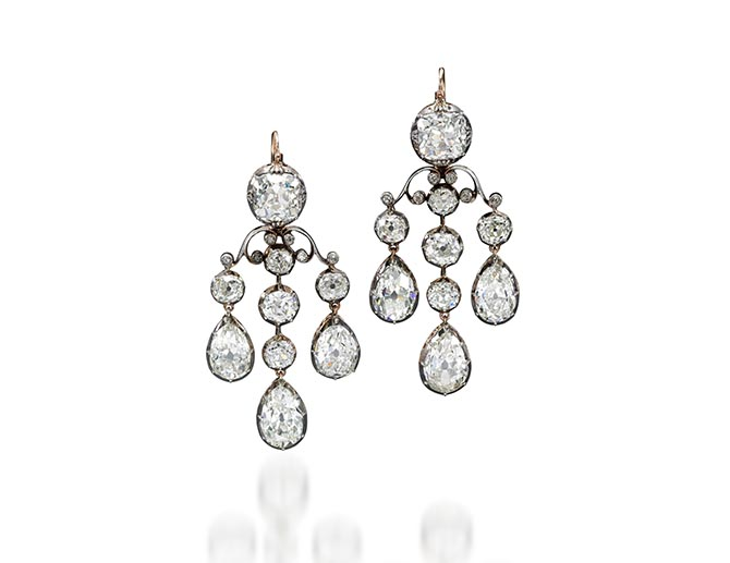 Girandole diamond earrings from the Sotheby's sale of Royal Jewels from the Bourbon Parma Family. Photo Sotheby's