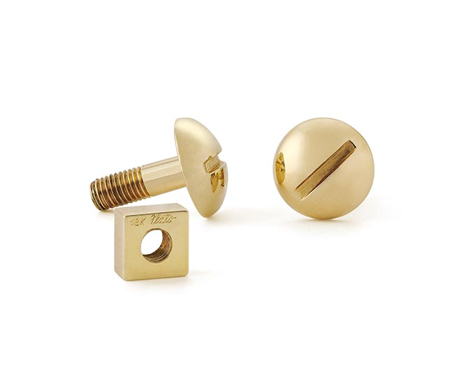 Nut and Bolt 18K gold cufflinks by Paul Flato from Hancocks collection. Photo courtesy
