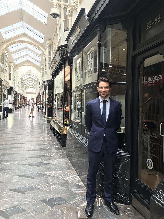 Guy Burton, Director of Hancocks London, standing in front of the boutique in Burlington Arcade. Photo courtesy