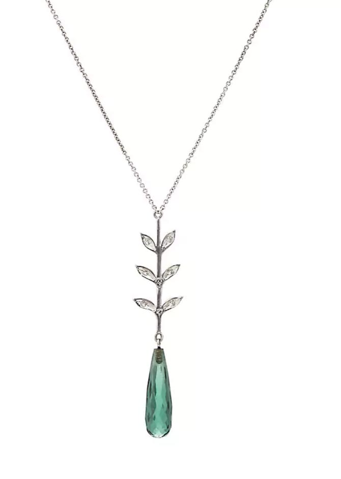 Cathy Waterman green tourmaline, diamond and platinum Wheat-Stem pendant necklace