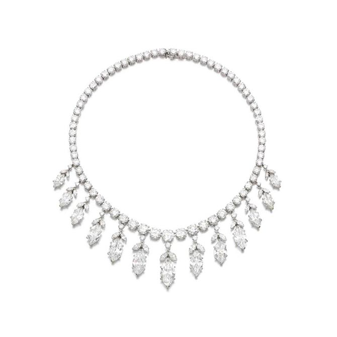 An important Van Cleef & Arpels diamond necklace made around 1956 from Hancocks collection was originally purchased by financier Edward F. Hutton. Photo courtesy