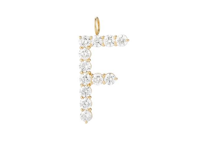 Floating diamond minimal block letter by Jennifer Fisher