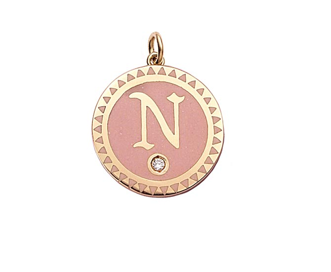 Foundrae Blush Pink Initial Pendant