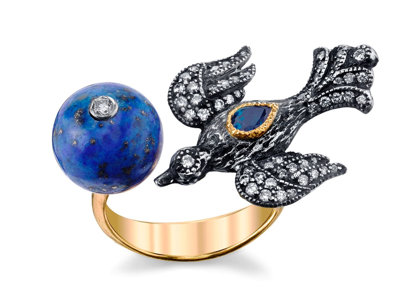 One of Lynn's contemporary favorites, her Arman Sarkisyan 22K gold and silver Peace on Earth ring with lapis, diamonds, and blue sapphire. Photo courtesy