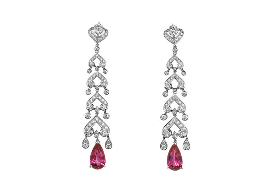 The diamond, red spinel and platinum earrings Helena Bonham Carter wore were from Cartier's High Jewelry Collection