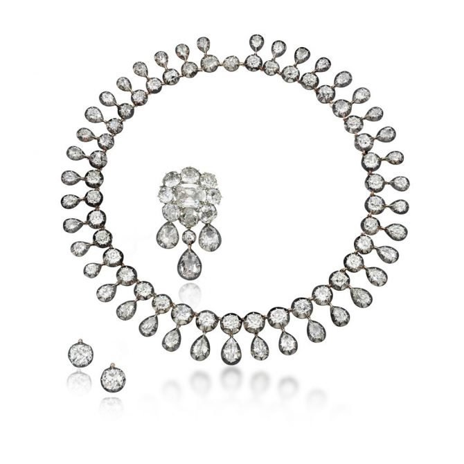 Diamond parure with five gems from the collection of Marie Antoinette. Photo Sotheby's