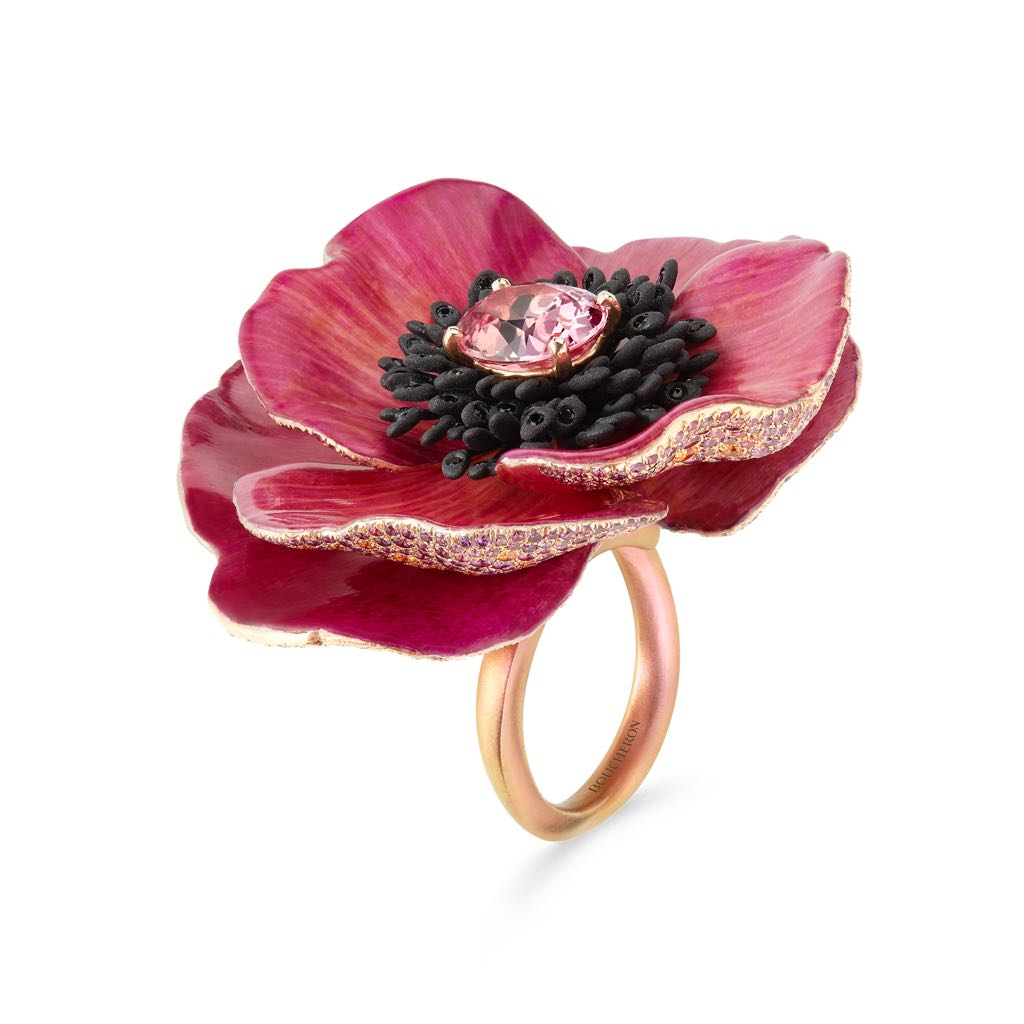 Flower-ring-with-natural-petals-set-with-a-416-ct-oval-padparadscha-sapphire-paved-with-black-spinels-purple-and-orange-sapphires-on-titanium-pink-g