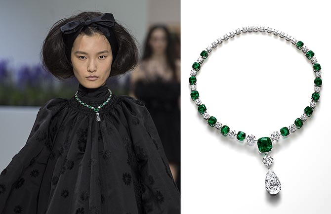 Model Liu Chunjie wearing Giambattista Valli and a Chopard necklace in platinum set with 17 exceptional no oil cushion-cut emeralds weighing a a total of 52carats, one 20.5-carat D-flawless pear-shaped diamond, two D-flawless round diamonds totaling 8.3-carats and 29.6-carats of round diamonds.