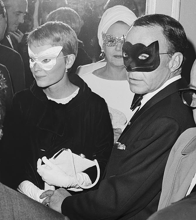 Mia Farrow with Frank Sinatra at the Black and White ball. Photo Getty