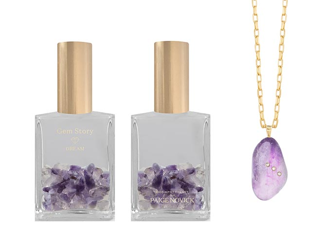 Front and back of the bottle of Paige Novick's Dream Gem Story Oil and a Amethyst Gem Story Necklace. Photo courtesy