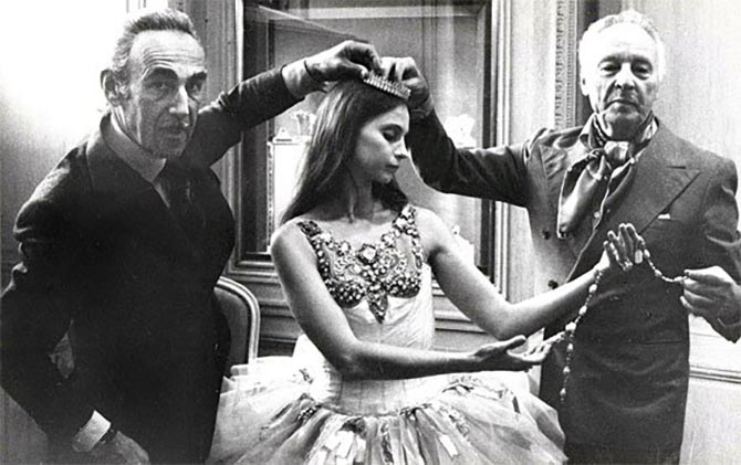 Pierre Arpels, dancer Suzanne Farrell and choreographer George Balanchine meeting the press at the Van Cleef & Arpels New York boutique to announce the 1967 premiere of the Jewels ballet. Photo courtesy