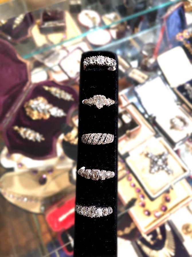 Georgian diamond rings from Lowther Antiques. Photo Sally Davies