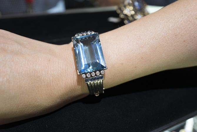 Aquamarine and diamond bracelet from Eric Originals. Photo Sally Davies