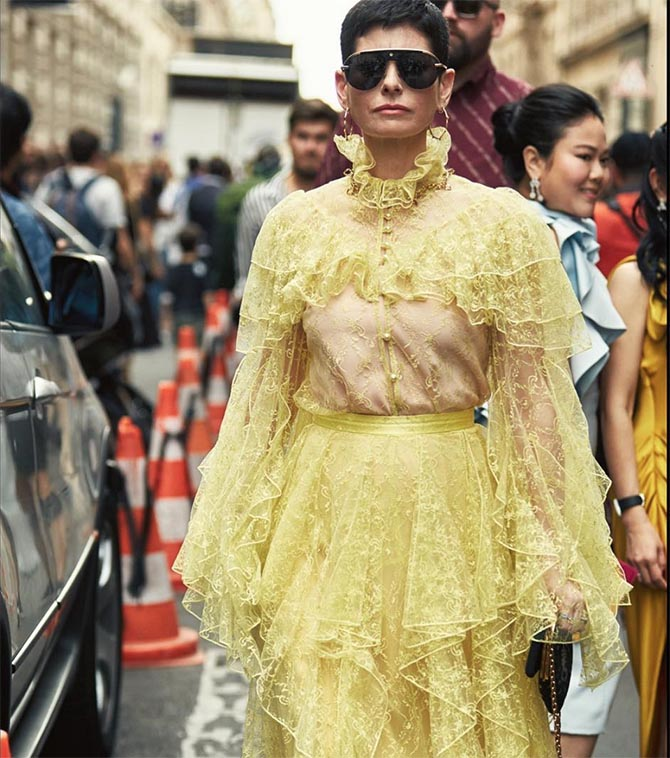 Lauren Kulchinsky wearing Rodarte and Kristen Farrell jewels on the streets. Photo via @lklevison/Instagram