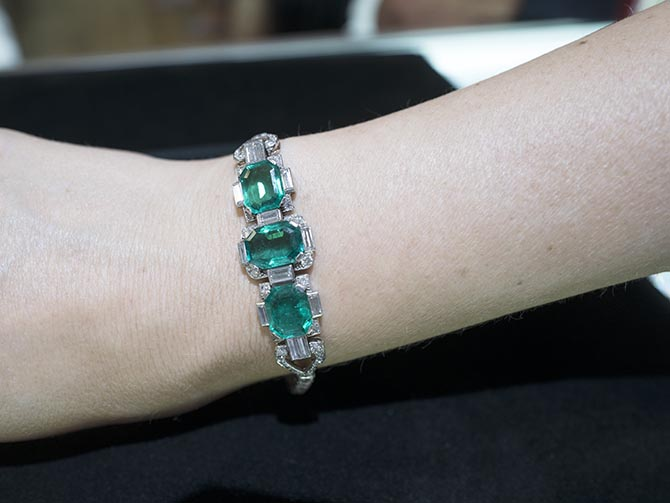 Cartier emerald, diamond and platinum Art Deco bracelet from Eric Originals Photo Sally Davies