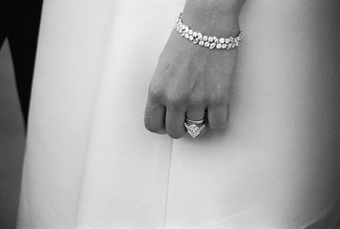 Detail of Mia Farrow's 9-carat pear shape diamond and platinum engagement ring and bracelet from Ruser. Photo Getty