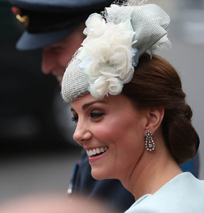 Kate Middleton, the Duchess of Cambridge, wearing antique diamond earrings for the centenary celebration of the RAF. Photo Getty