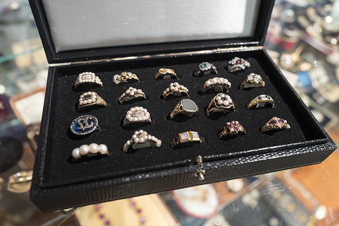 A box of rings from Ishy Antiques at the Lowther Antiques booth. Photo Sally Davies