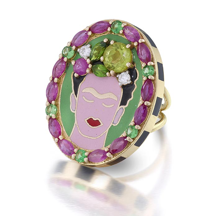 Frida ring by Holly Dyment of enamel, gold, rubies, emeralds and diamonds Photo courtesy
