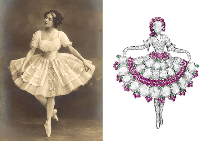 A photo of Anna Pavlova and the 1940s Van Cleef & Arpels brooch inspired by her pose. Photo