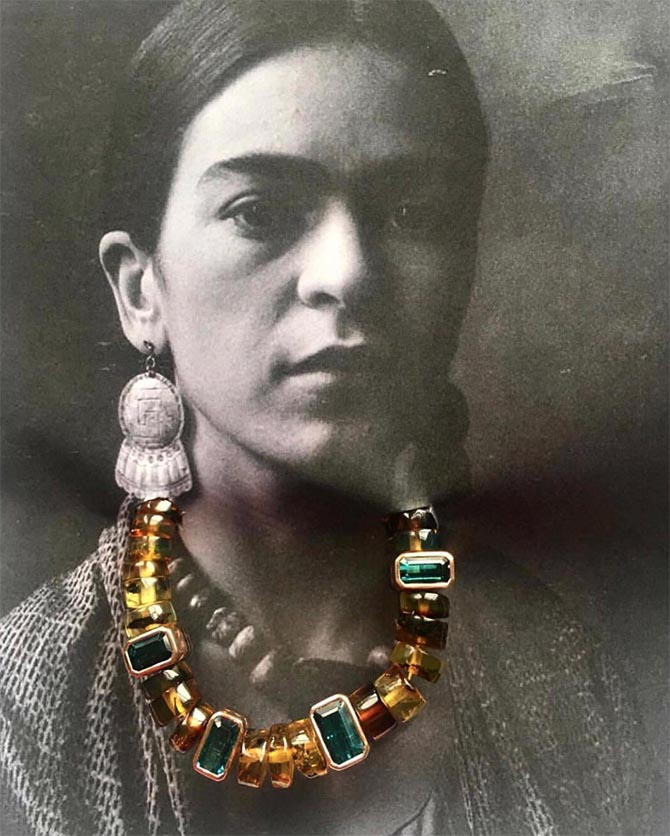 On Frida, a Dezso by Sara Beltran necklace composed of classic amber and tourmaline shark fin puka. Photo courtesy