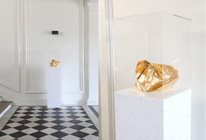 Two views of a sculpture by Ana Khouri shown at her presentation at the Musée des Arts Décoratifs in Paris on July 3, 2018. The shape of the piece inspired a cuff bracelet. Photo courtesy