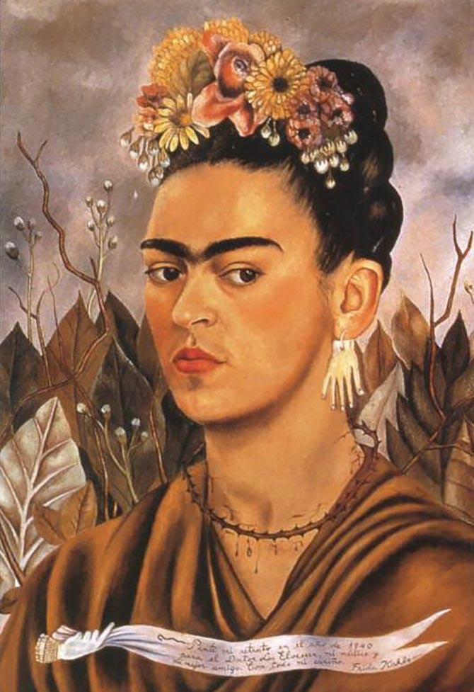 Frida Kahlo has on hand earrings she received from Pablo Picasso in the 1940 self-portrait 'Dedicated to Dr Eloesser' Photo