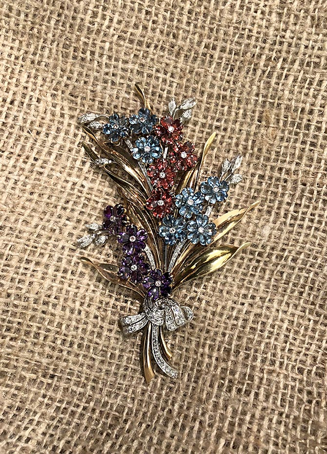 Mid-century flower brooch from the Camilla Dietz Bergeron display. Photo Sally Davies