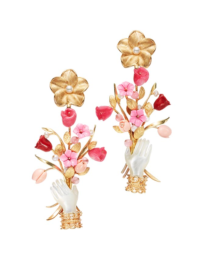 Blossom earrings by Of Rare Origin composed of ruby, pink quartz, mother-of-pearl and 18K yellow gold vermeil Photo courtesy