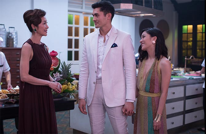 Michelle Yeoh, Henry Golding and Constance Wu in 'Crazy Rich Asians'