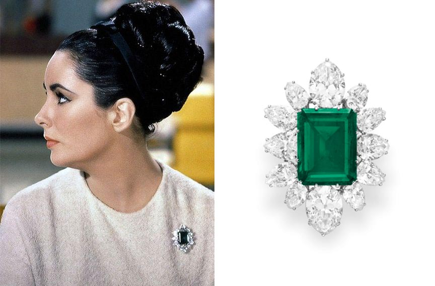 Elizabeth Taylor wearing the emerald and diamond brooch by Bulgari in the 1963 film 'The V.I.P.s.' Photo Alamy and Christie's