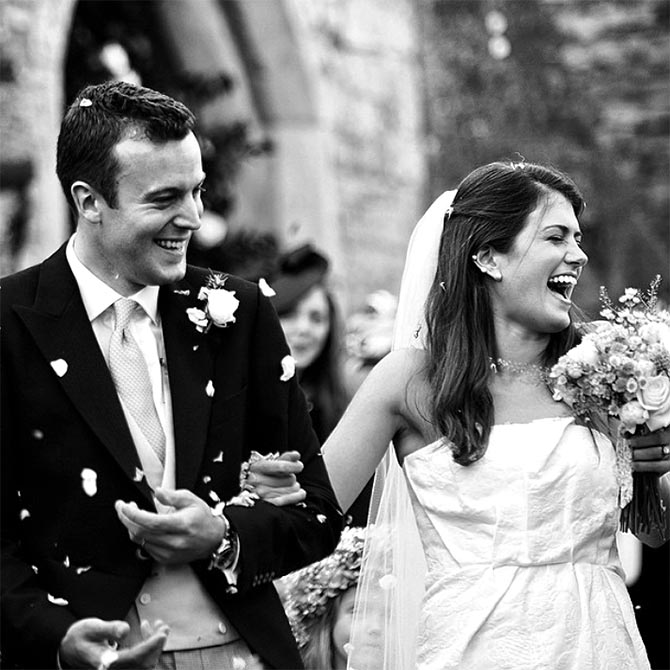 Sophie wearing an Ana Khouri pearl ear cuff on her wedding day. Photo courtesy