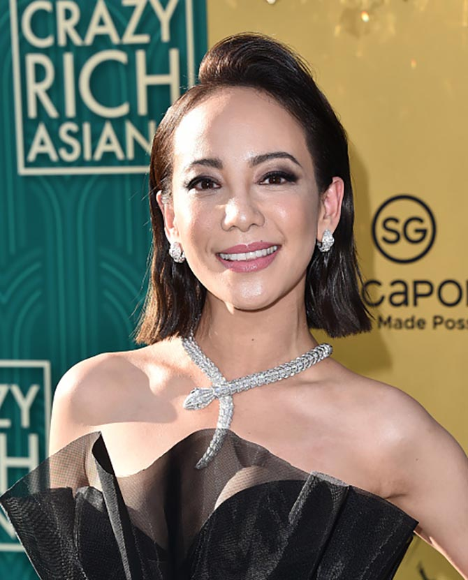 Fiona Xie in a Bulgari Serpenti diamond necklace and coordinating earrings.