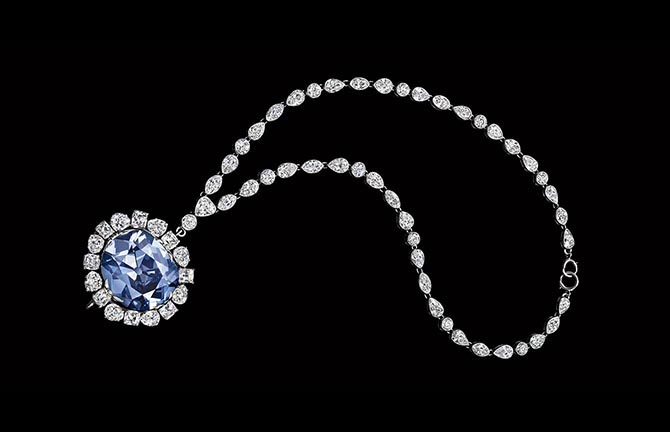 The Hope Diamond set in a pendant of the diamond necklace made around 1912 for Evalyn Walsh McLean Photo courtesy