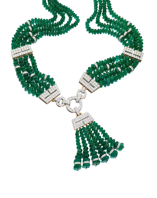 Katherine Domyan's emerald bead and diamond necklace by David Webb at Bonhams. Photo Bonhams