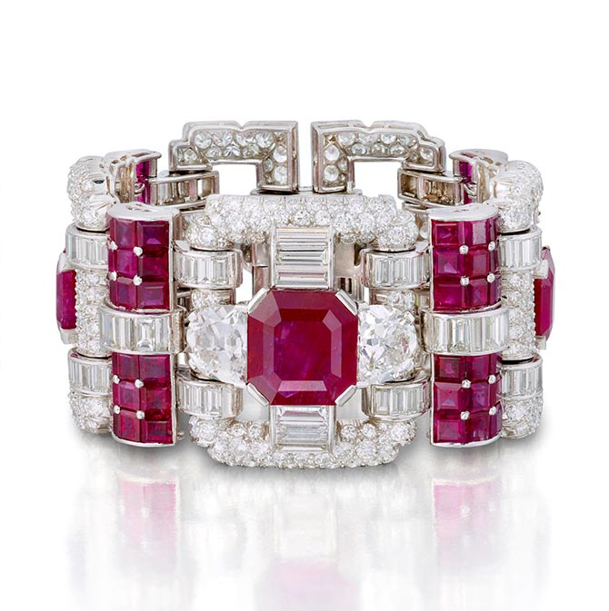 Katherine Domyan's Art Deco ruby and diamond bracelet by Van Cleef & Arpels, circa 1940. Photo Bonhams